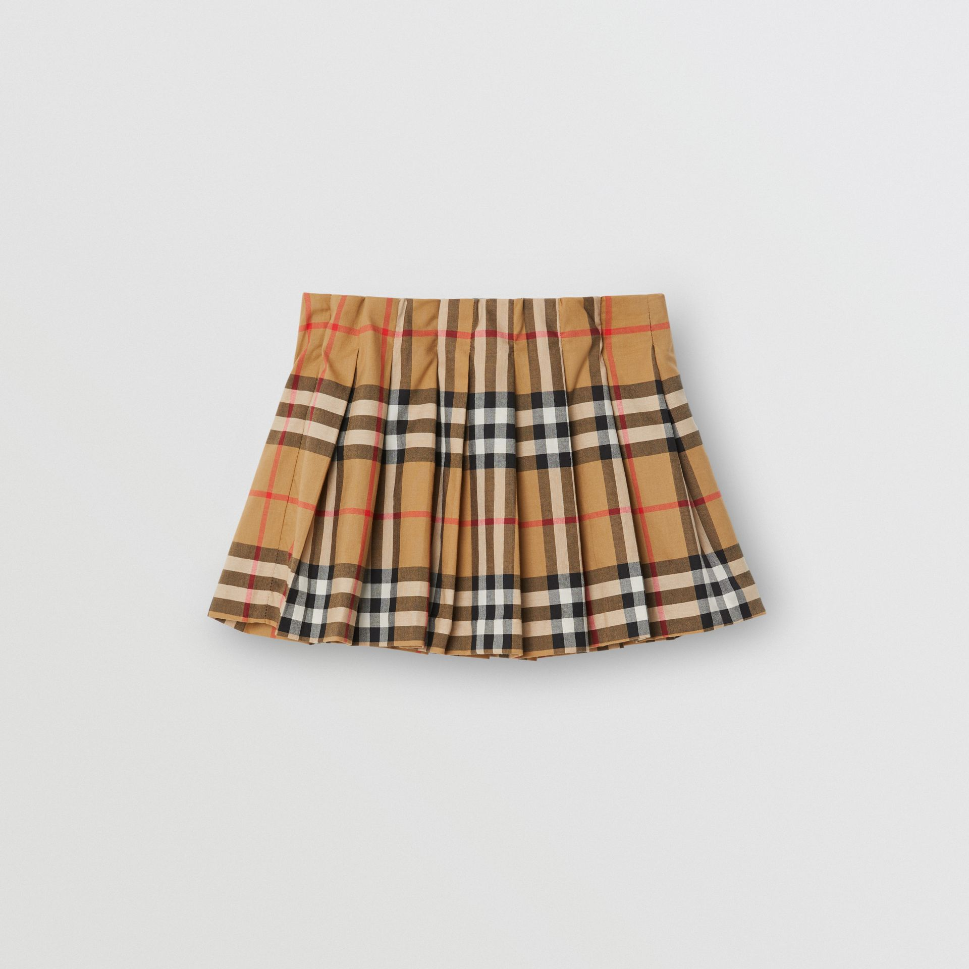 Jupe plissée à motif Vintage check (Jaune Antique) - Enfant | Burberry Canada - photo de la galerie 0