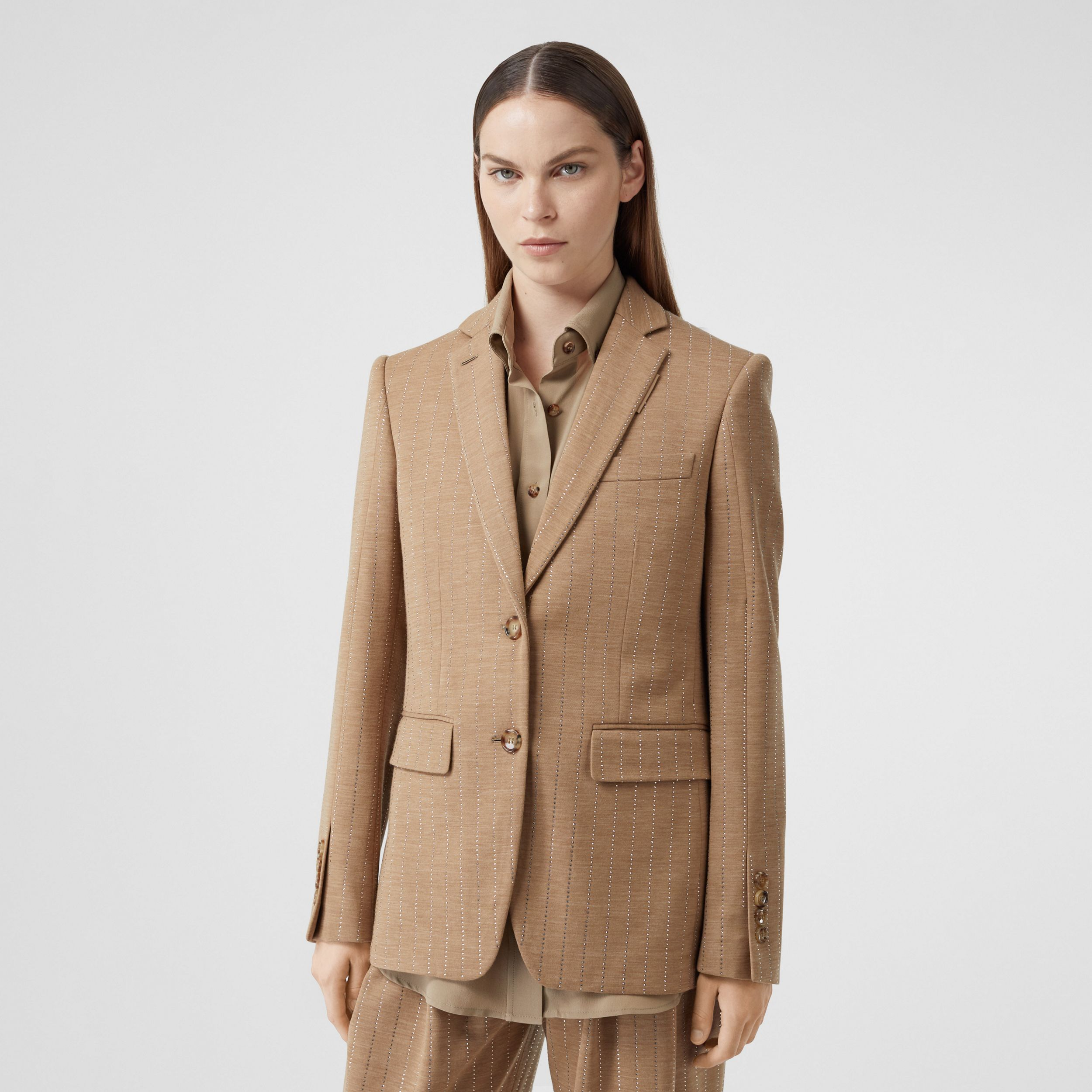 Crystal Pinstriped Technical Wool Jersey Blazer in Pecan Melange - Women | Burberry - 1