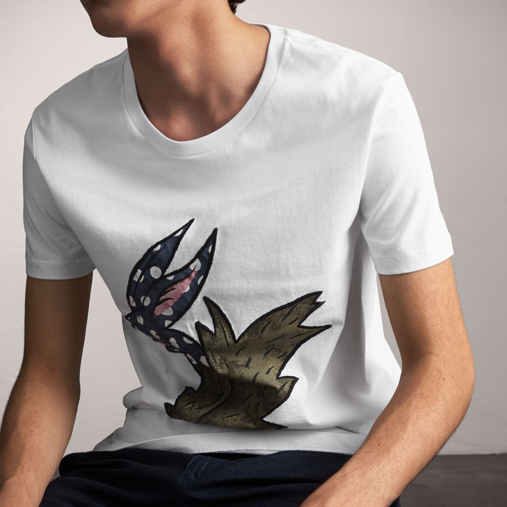 Flocked and Embroidered Beasts Print Cotton T-shirt in White - Men | Burberry United Kingdom - gallery image 4