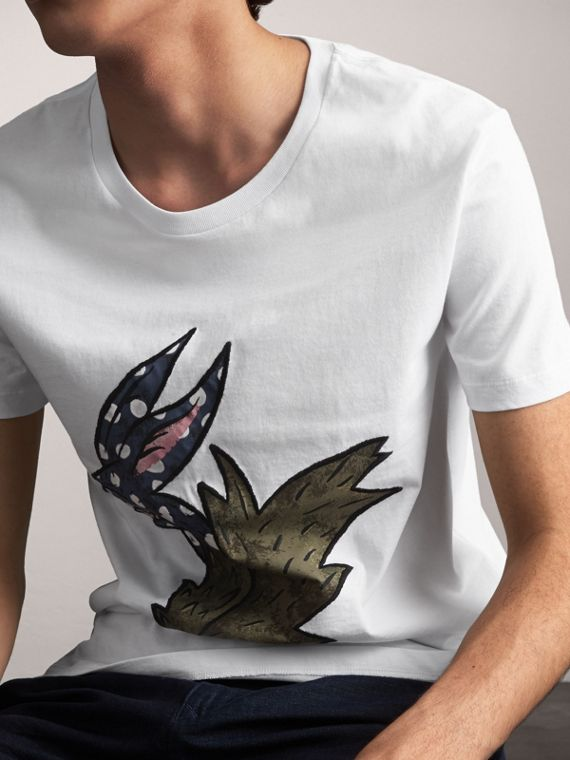 Flocked and Embroidered Beasts Print Cotton T-shirt in White - Men | Burberry United Kingdom - cell image 3