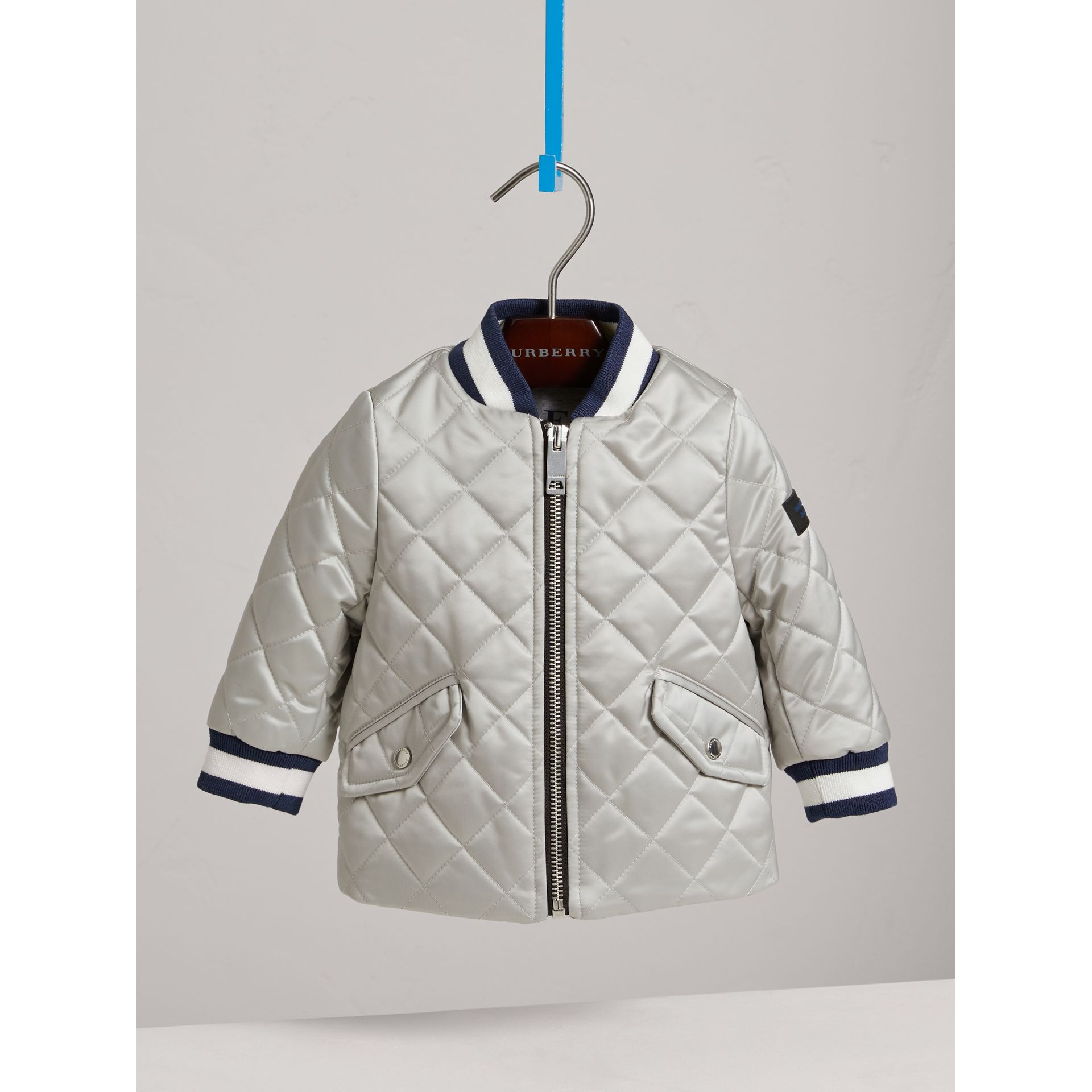 Diamond Quilted Satin Bomber Jacket in Silver | Burberry - gallery image 2