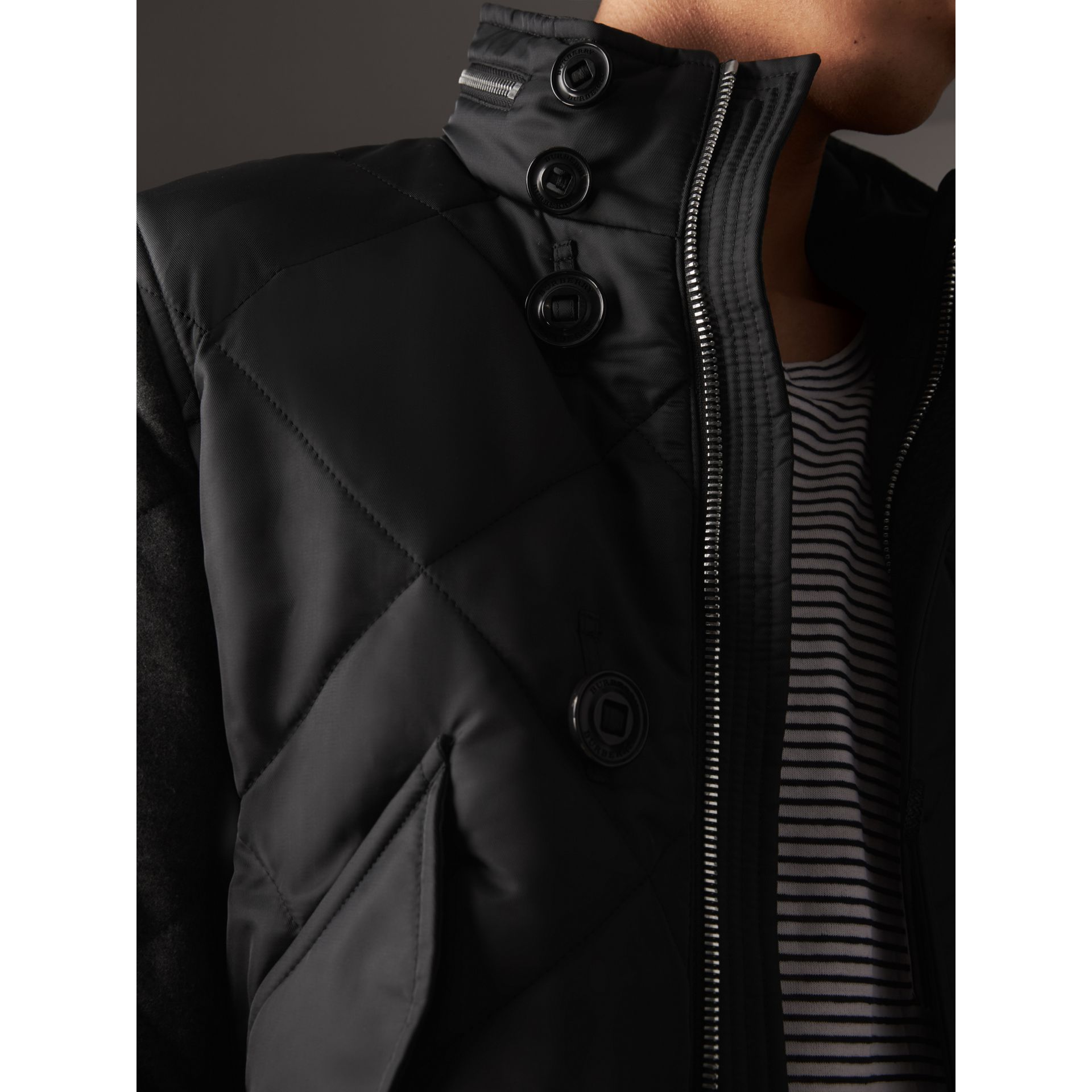 Packaway Hood Wool-sleeve Quilted Bomber Jacket in Black - Men | Burberry - gallery image 2