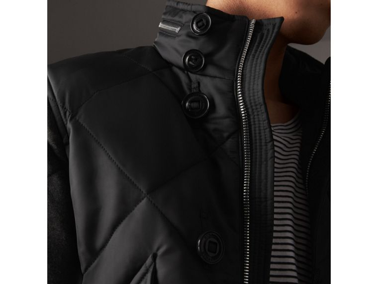 Packaway Hood Wool-sleeve Quilted Bomber Jacket in Black - Men | Burberry - cell image 1