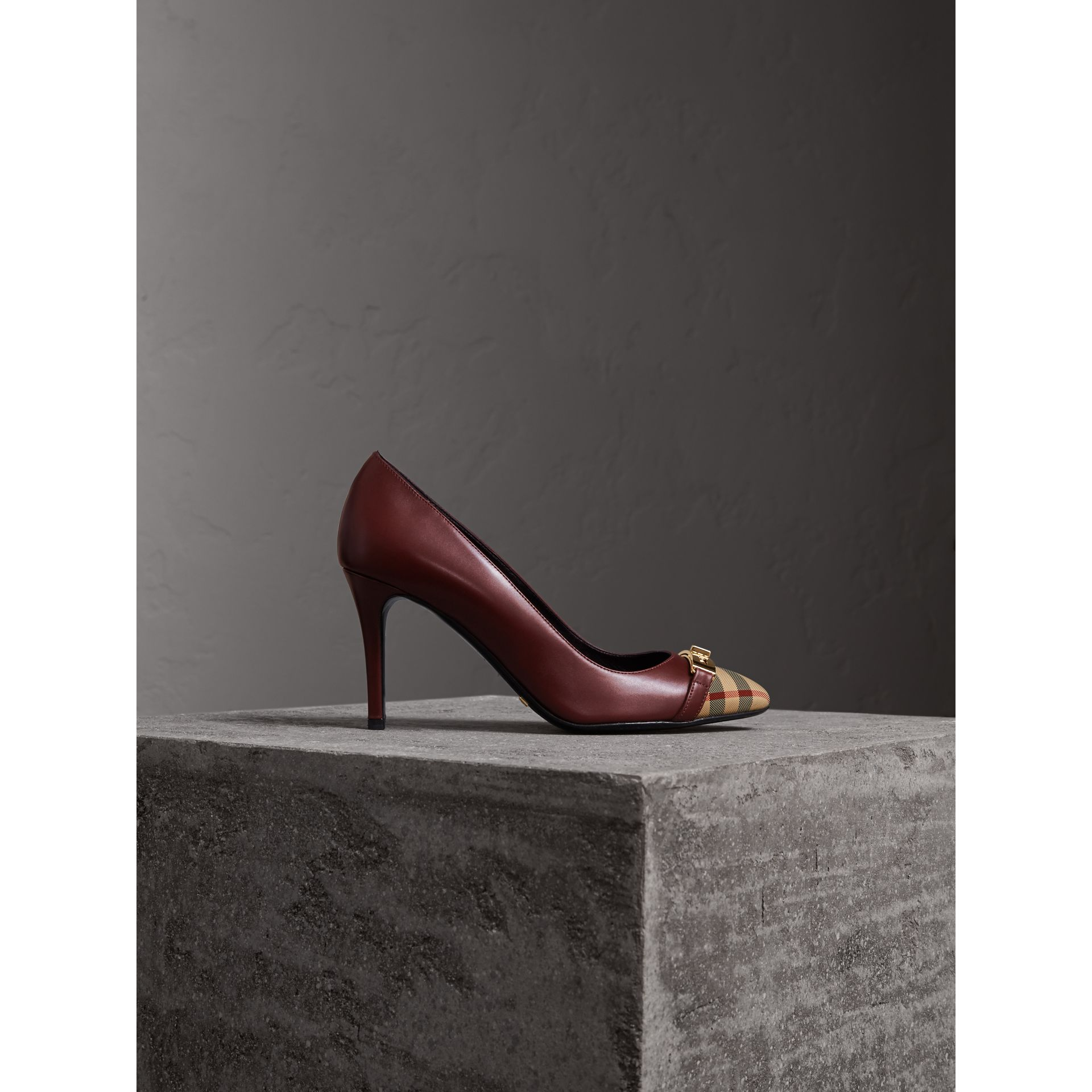 Horseferry Check Leather Pumps in Oxblood - Women | Burberry - gallery image 1