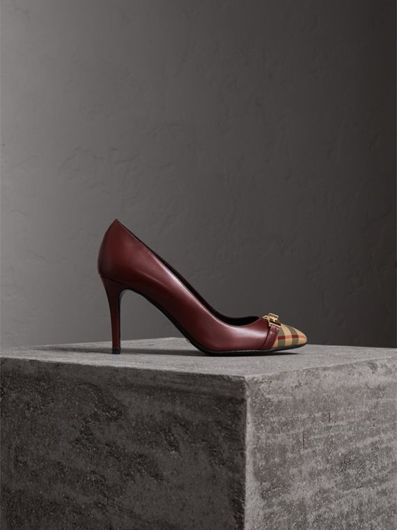 Horseferry Check Leather Pumps in Oxblood - Women | Burberry Hong Kong