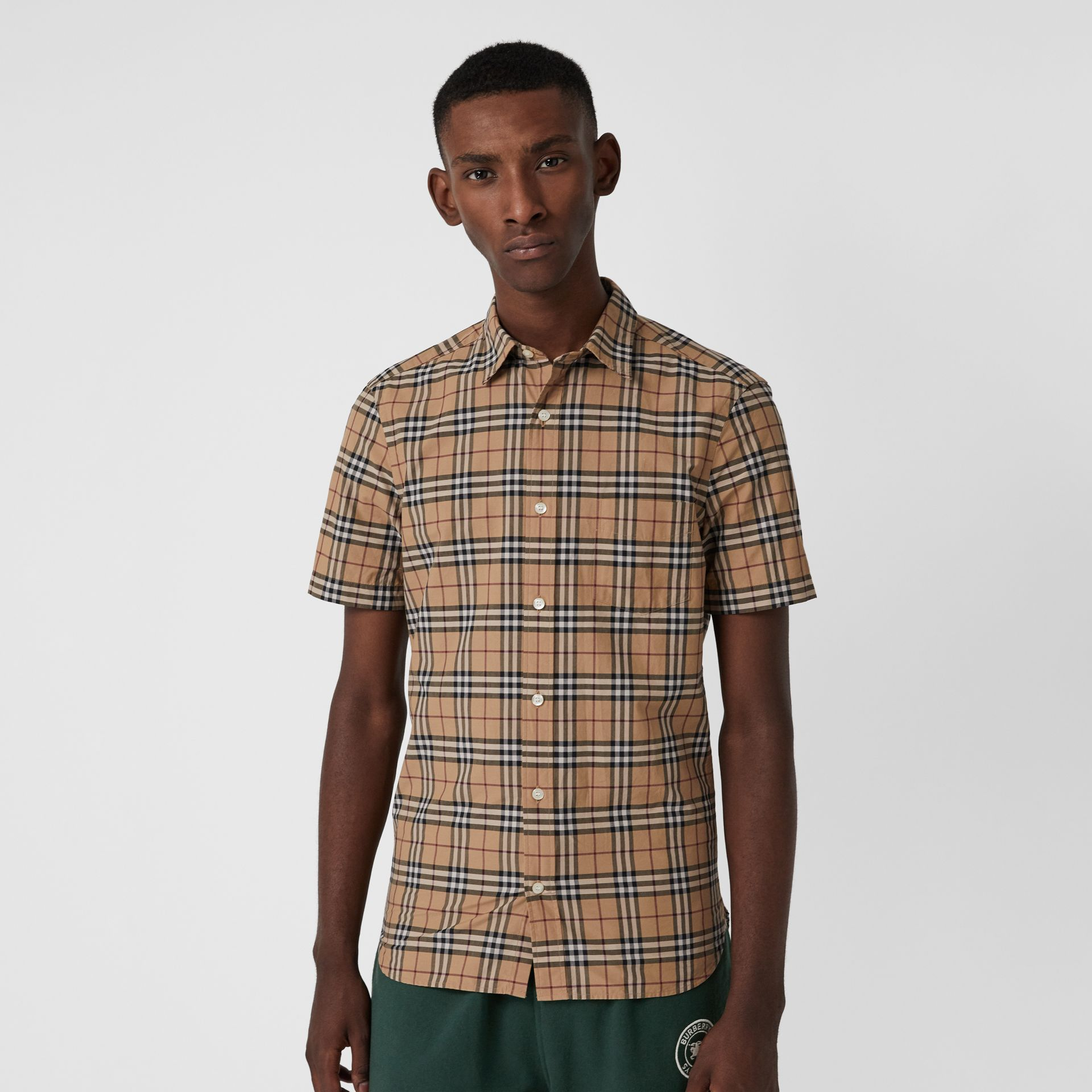 Short-sleeve Check Cotton Shirt in Camel - Men | Burberry - gallery image 0