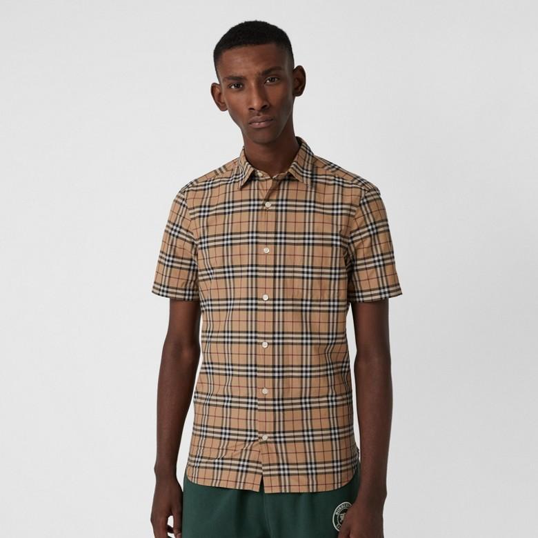 Burberry - Chemise en coton à manches courtes avec motif check - 1