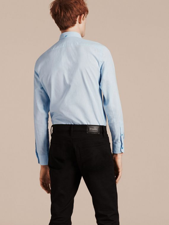 Pale blue Button-down Collar Cotton Linen Shirt Pale Blue - cell image 2