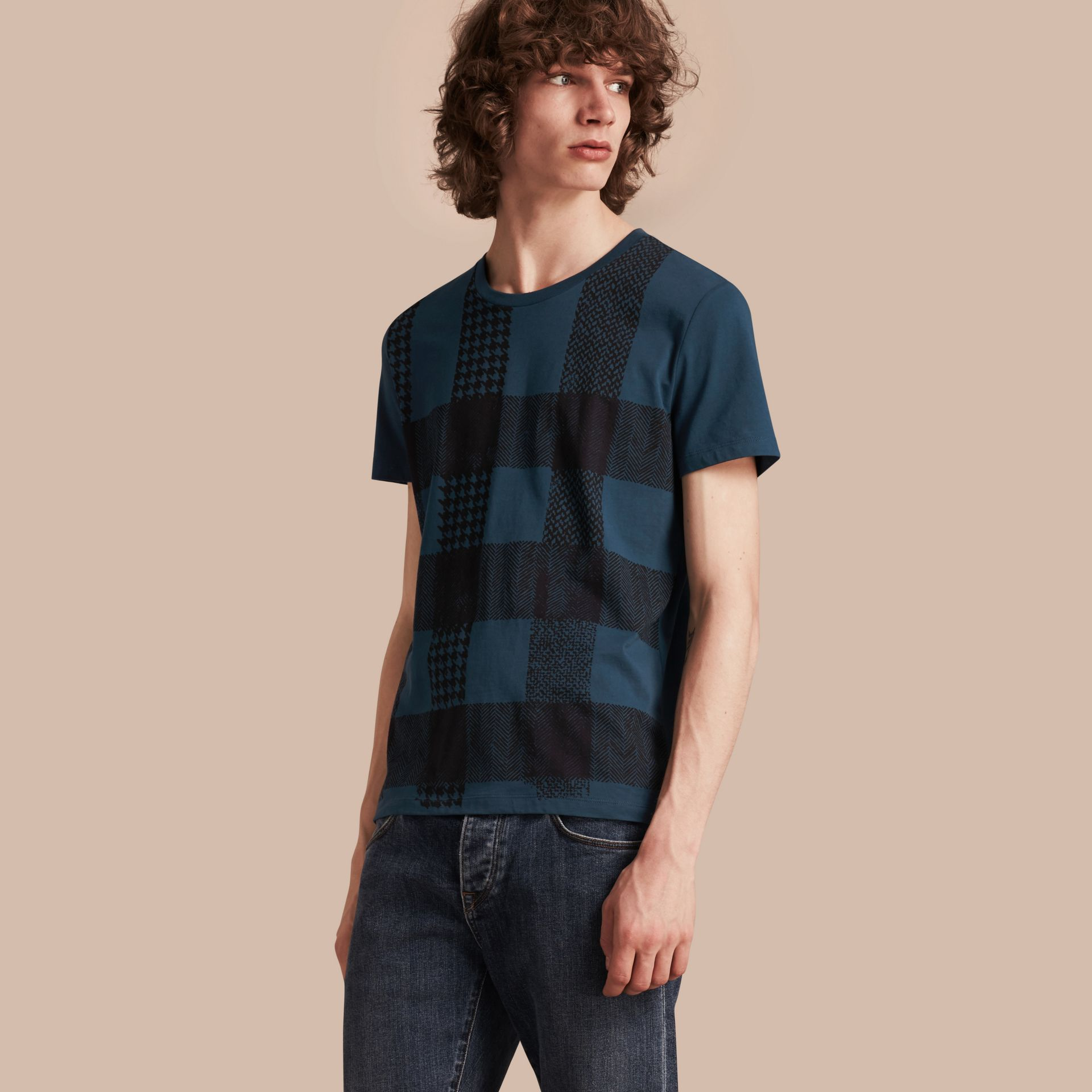 Mineral blue Textured Check Cotton T-Shirt Mineral Blue - gallery image 1