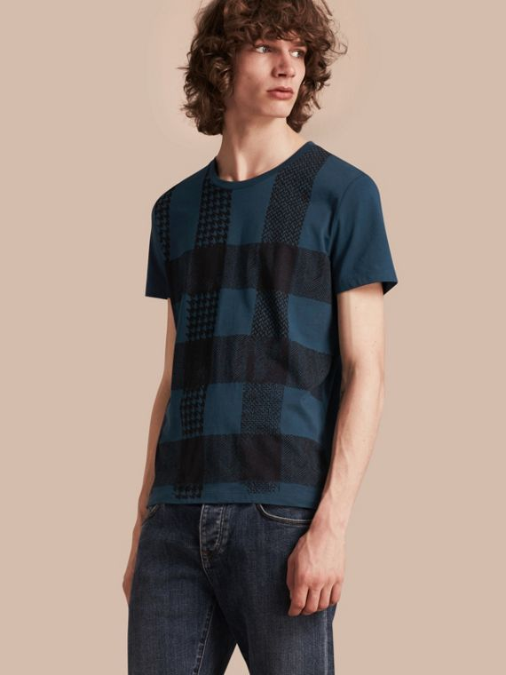 Textured Check Cotton T-Shirt Mineral Blue
