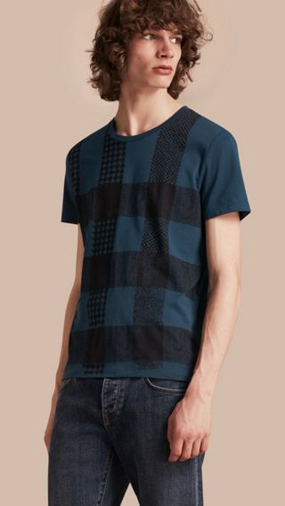 Textured Check Cotton T-Shirt