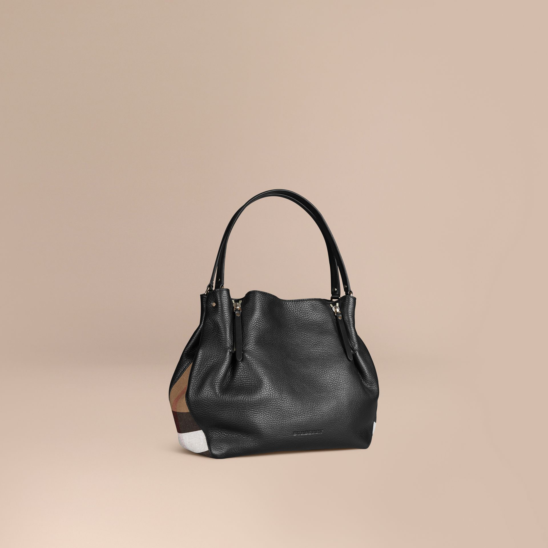 Black Medium Check Detail Leather Tote Bag Black - gallery image 1