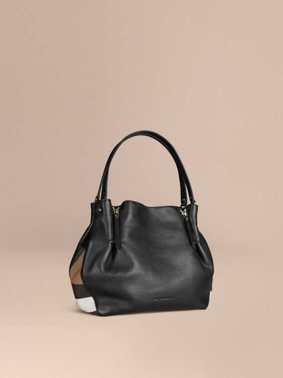 Medium Check Detail Leather Tote Bag Black