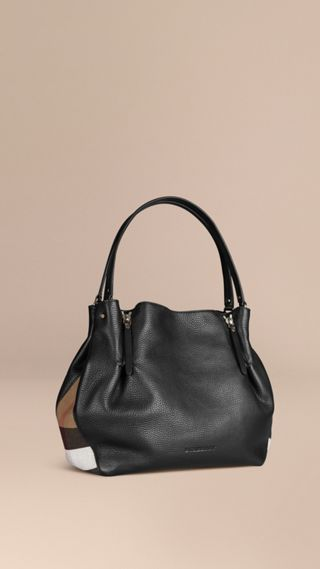 Medium Check Detail Leather Tote Bag