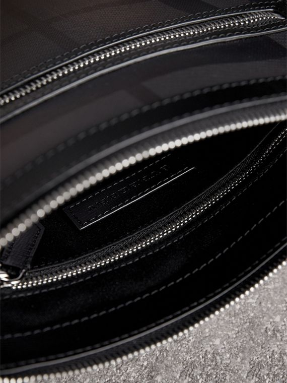 Leather Trim London Check Crossbody Bag in Charcoal/black - Men | Burberry - cell image 3
