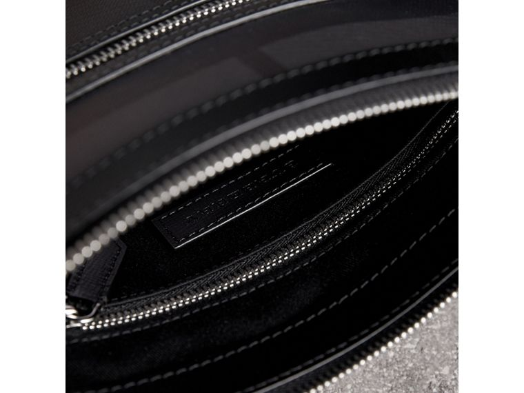 Leather Trim London Check Crossbody Bag in Charcoal/black - Men | Burberry Singapore - cell image 4