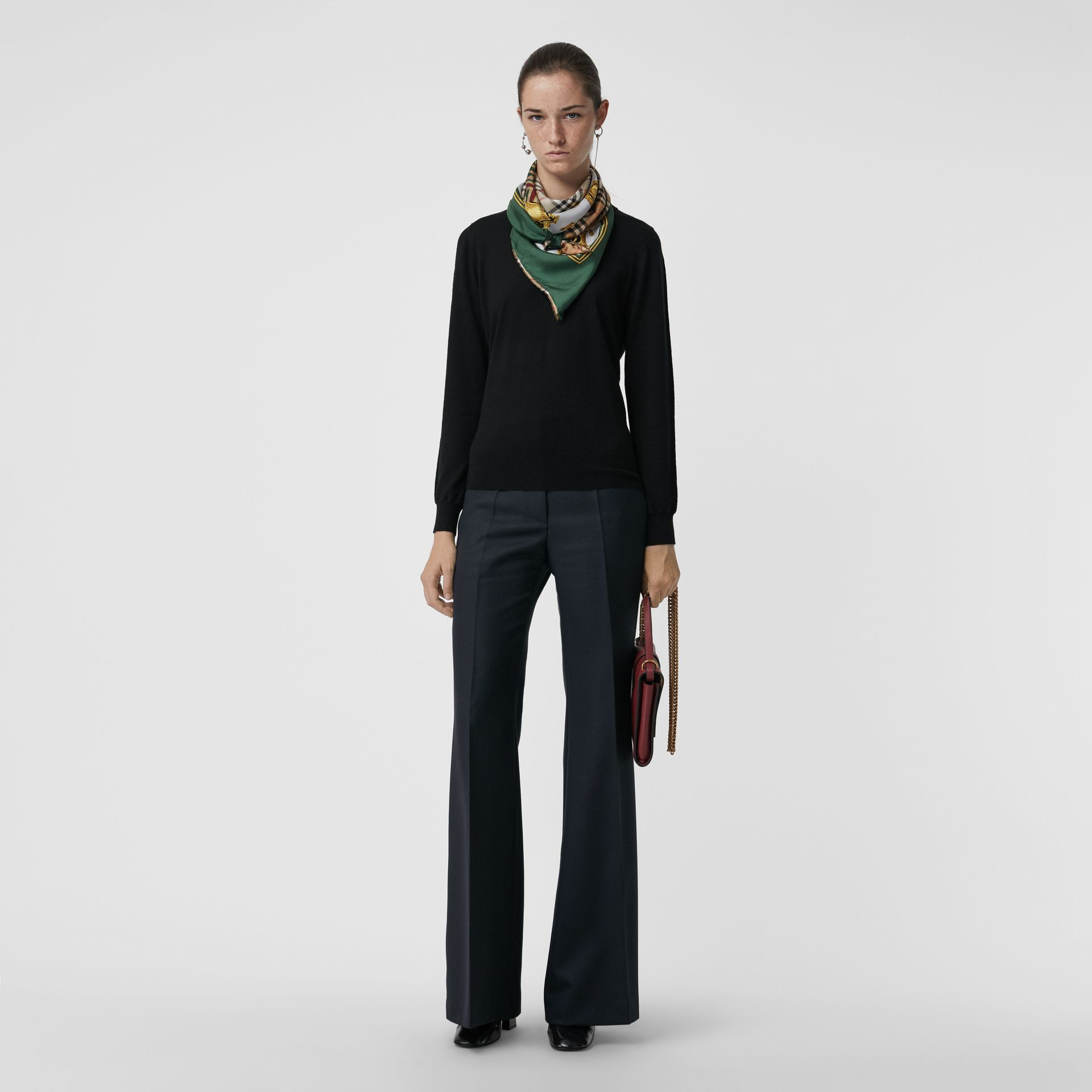 Merino Wool Crew Neck Sweater in Black - Women | Burberry - gallery image 0