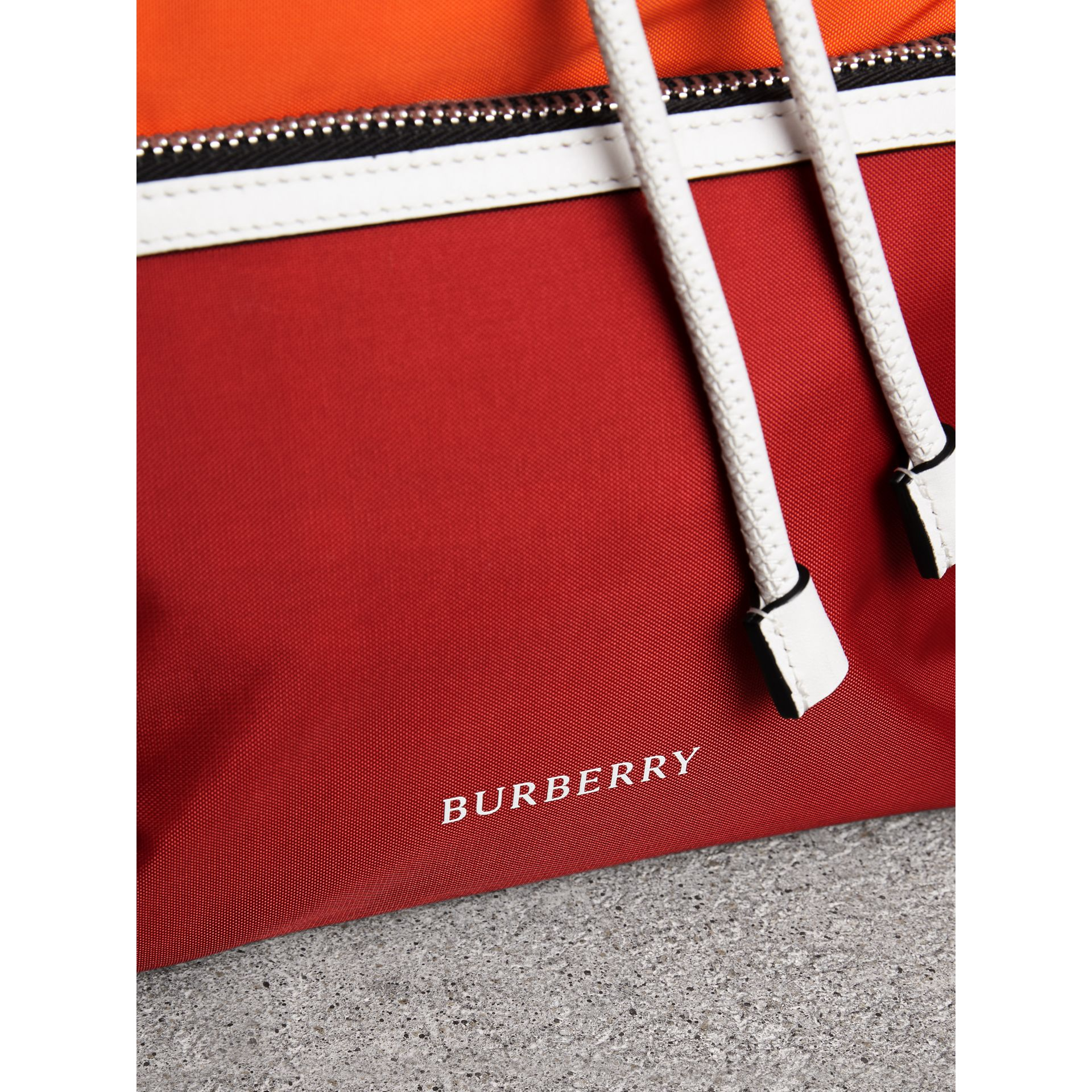The Medium Rucksack in Colour Block Nylon and Leather in Parade Red - Women | Burberry United Kingdom - gallery image 1