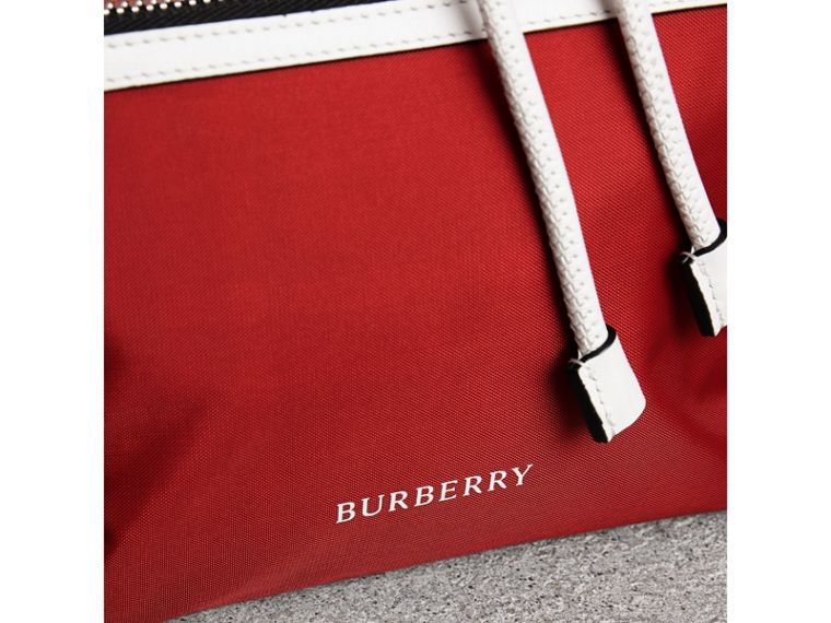 The Medium Rucksack in Colour Block Nylon and Leather in Parade Red - Women | Burberry Australia - cell image 1