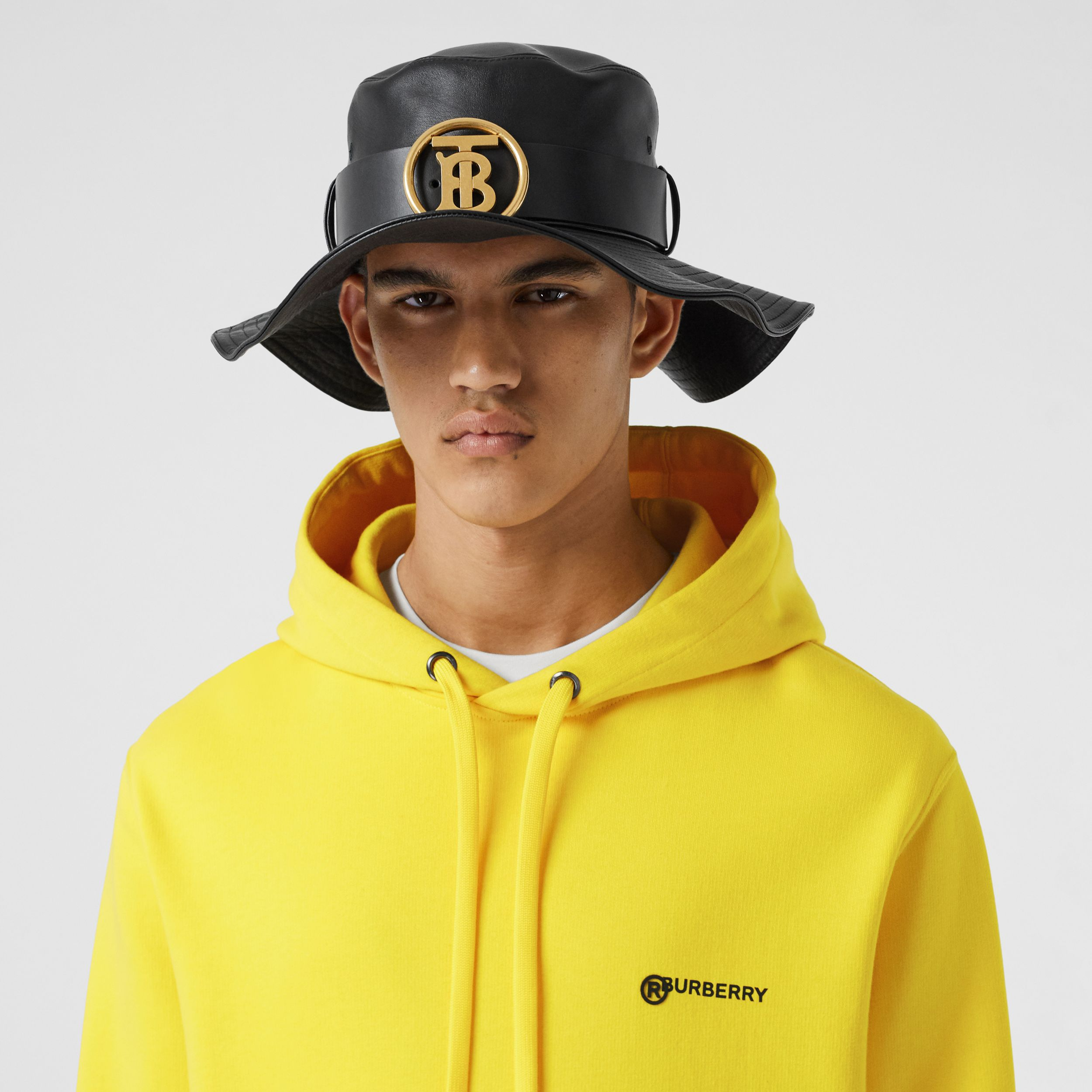 Logo Print Cotton Hoodie in Canary Yellow - Men | Burberry - 2