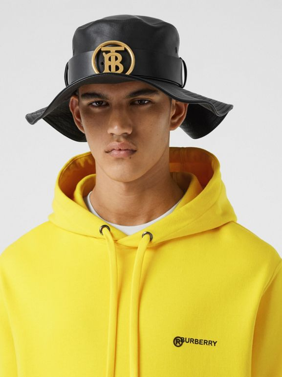 Logo Print Cotton Hoodie in Canary Yellow - Men | Burberry - cell image 1