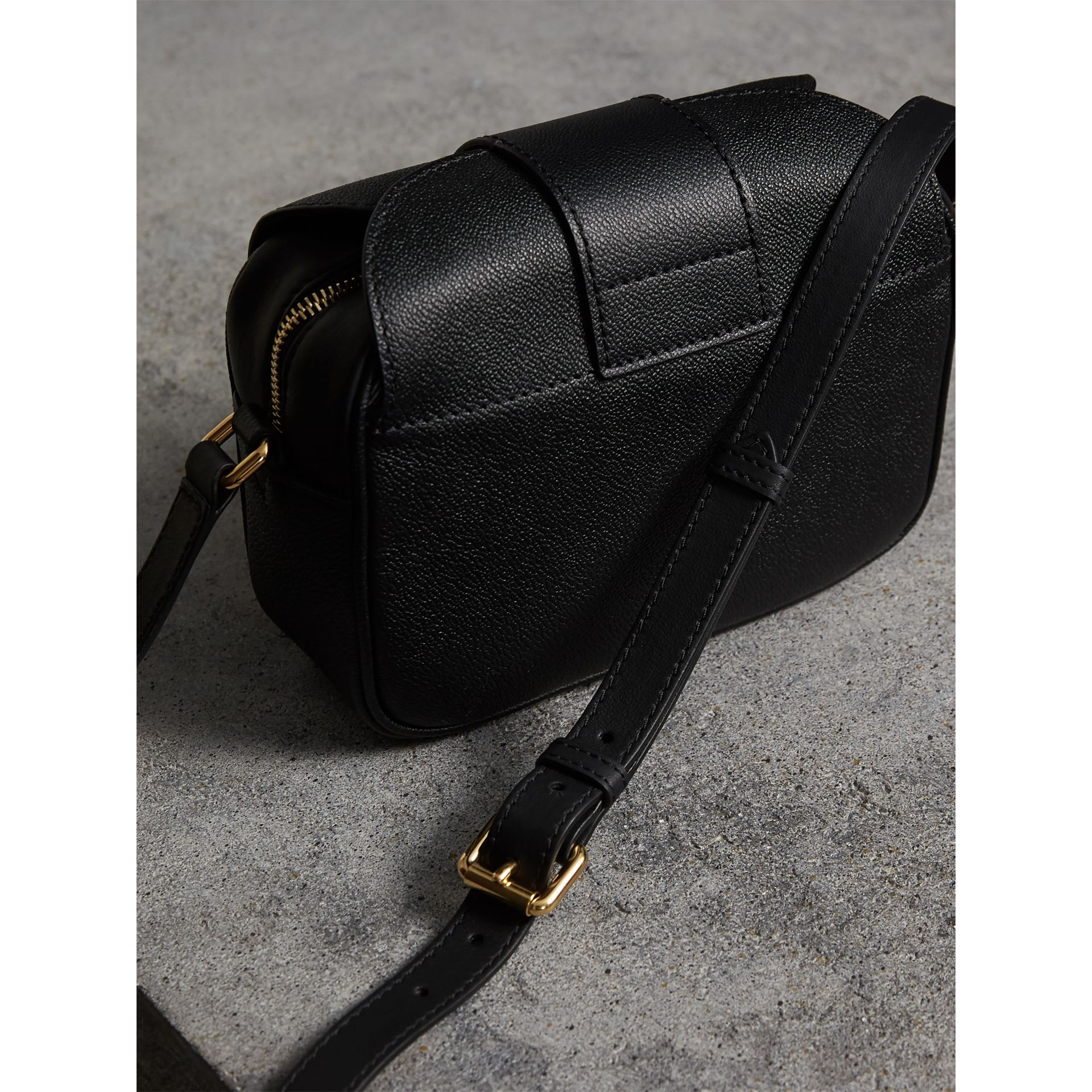 The Small Buckle Crossbody Bag in Leather in Black - Women | Burberry United Kingdom - gallery image 4