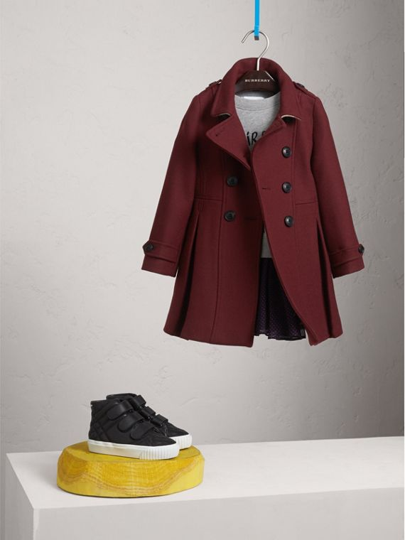Technical Wool Cashmere Double-Breasted Coat in Garnet - Girl | Burberry Singapore