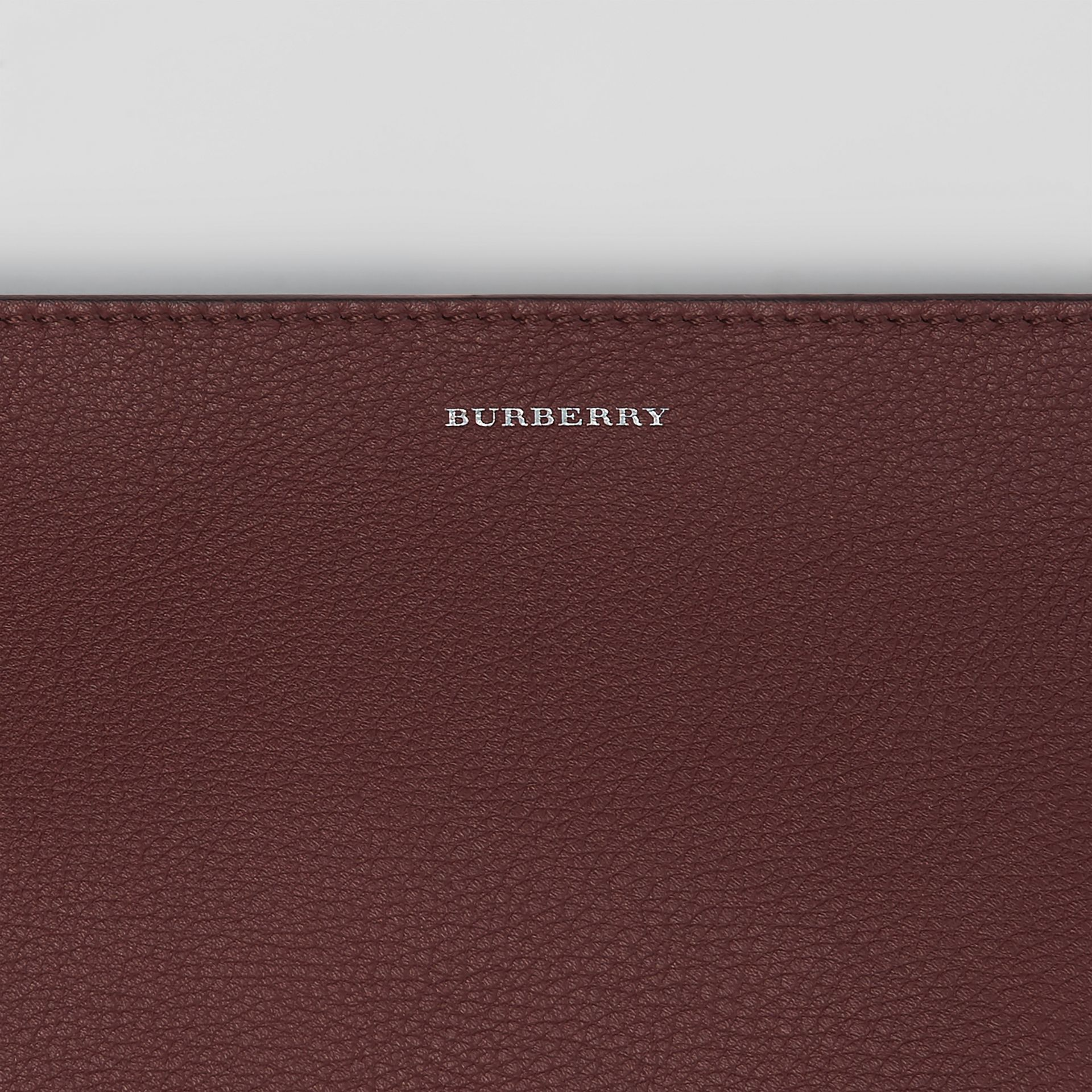 The Large Tri-tone Leather Clutch in Deep Claret/dusty Rose | Burberry - gallery image 1