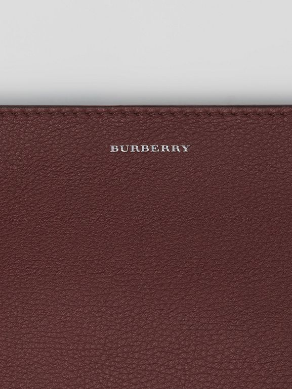 The Large Tri-tone Leather Clutch in Deep Claret/dusty Rose | Burberry - cell image 1