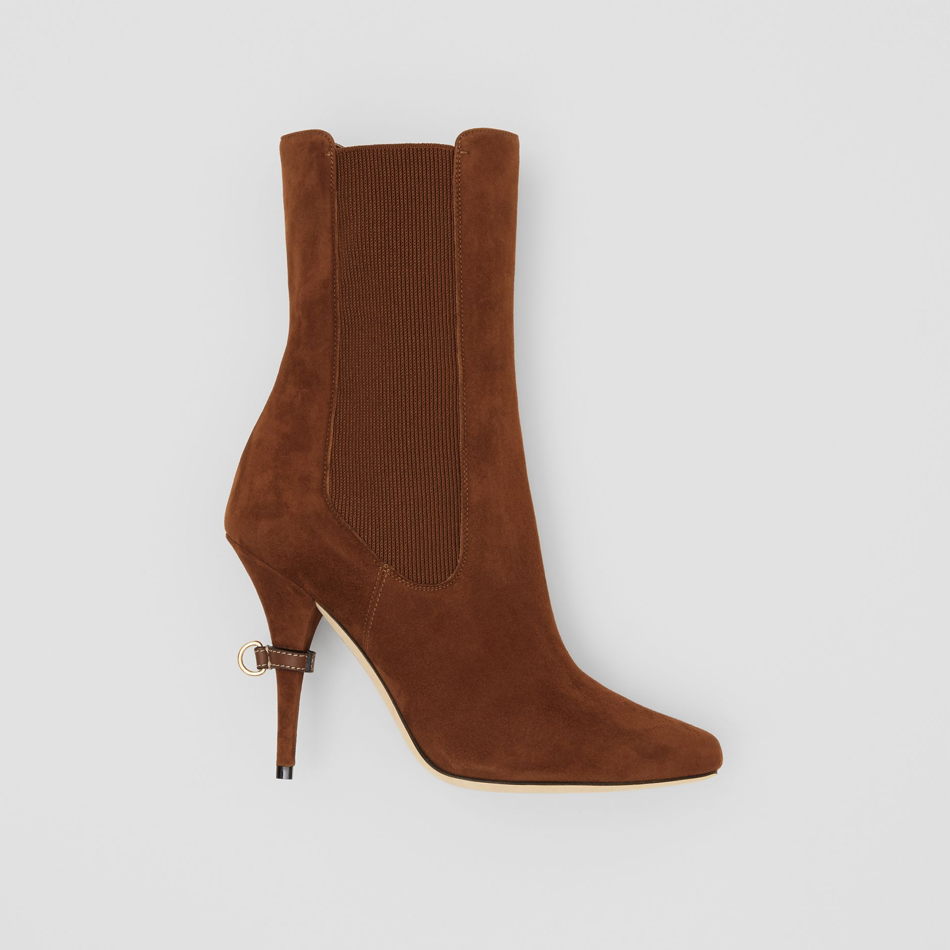 D-ring Detail Suede Ankle Boots in Tan - Women | Burberry - gallery image 0