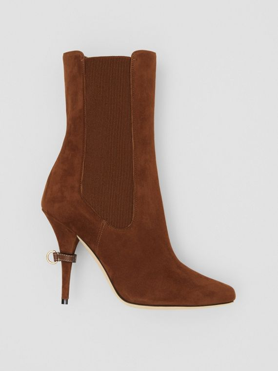 D-ring Detail Suede Ankle Boots in Tan