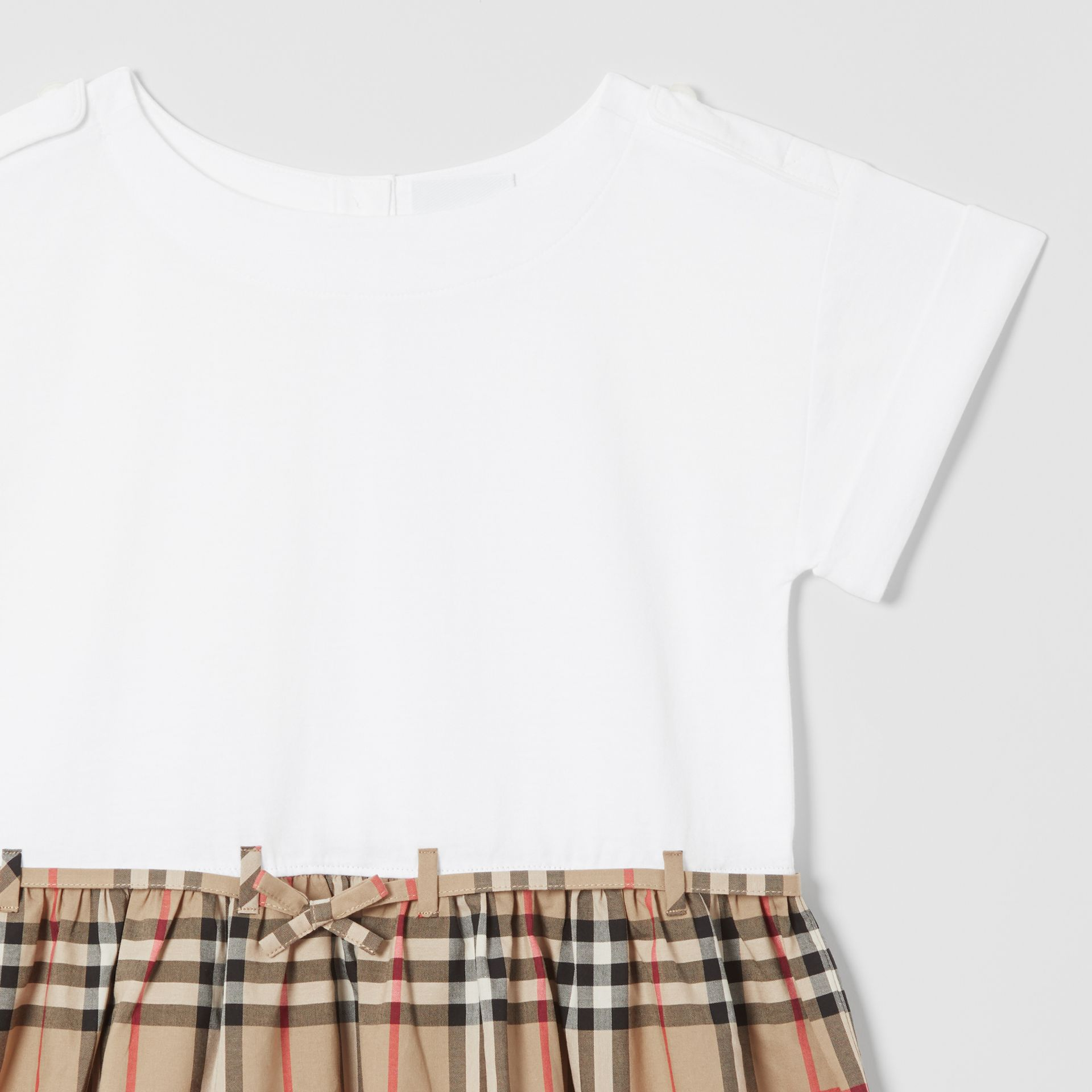 Vintage Check Detail Cotton Dress in White | Burberry - gallery image 4