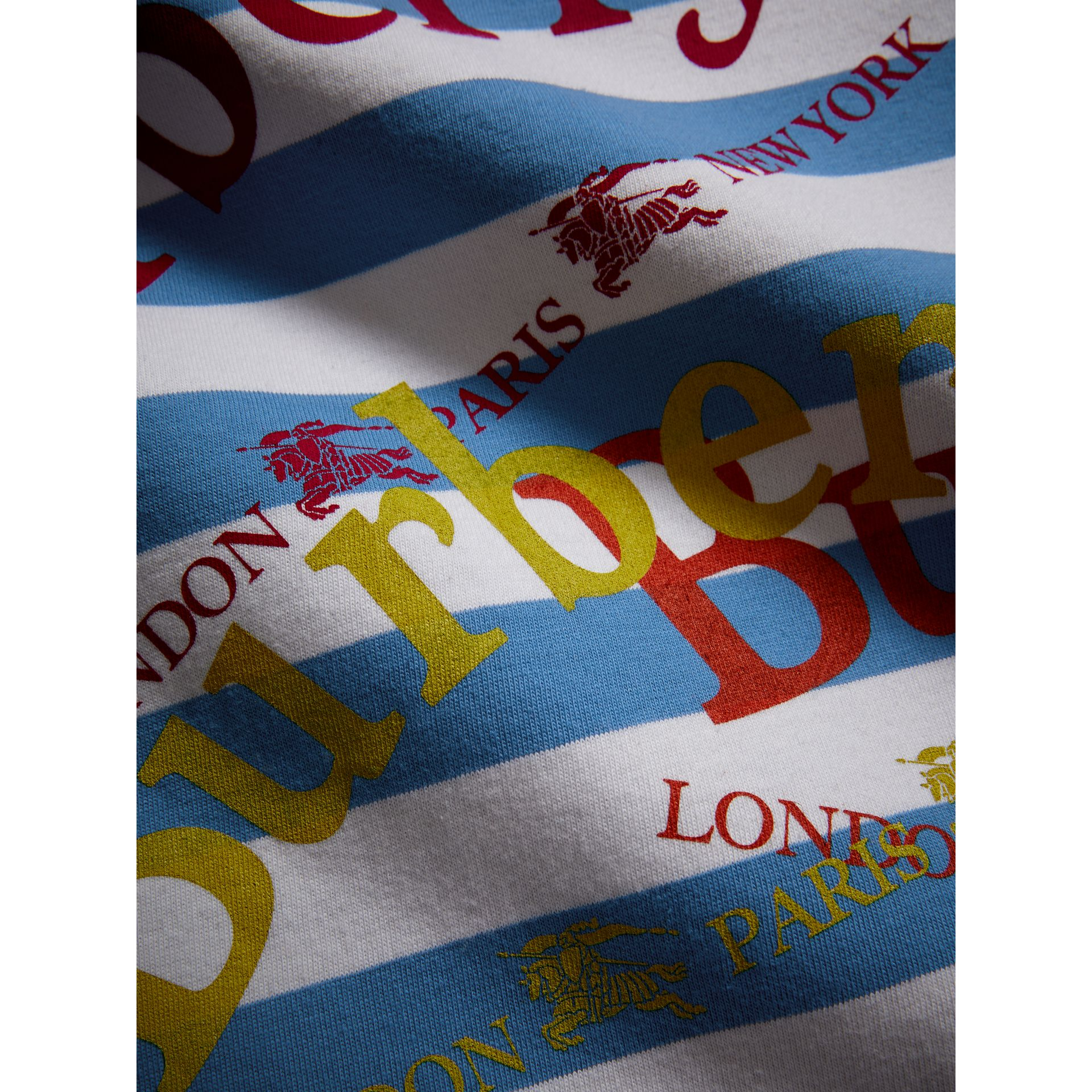 Medium Archive Logo Striped Jersey Shopper in Sky Blue/white | Burberry Australia - gallery image 1