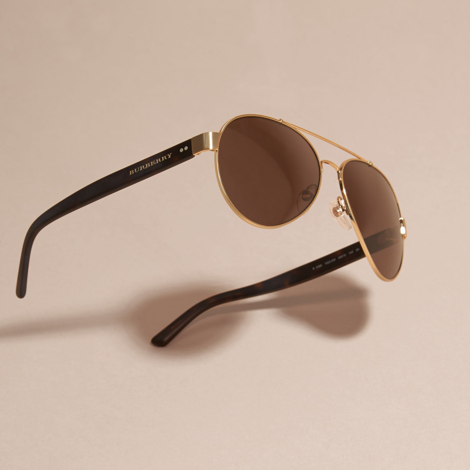 Pilot Sunglasses in Gold - Men | Burberry - gallery image 3