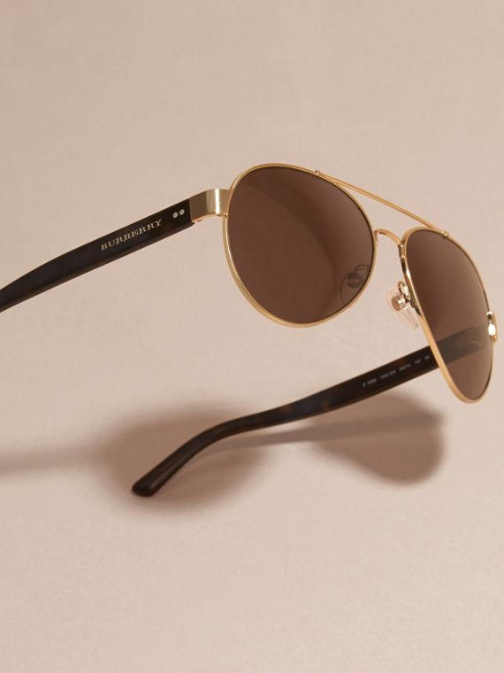 Pilot Sunglasses in Gold - Men | Burberry - cell image 2