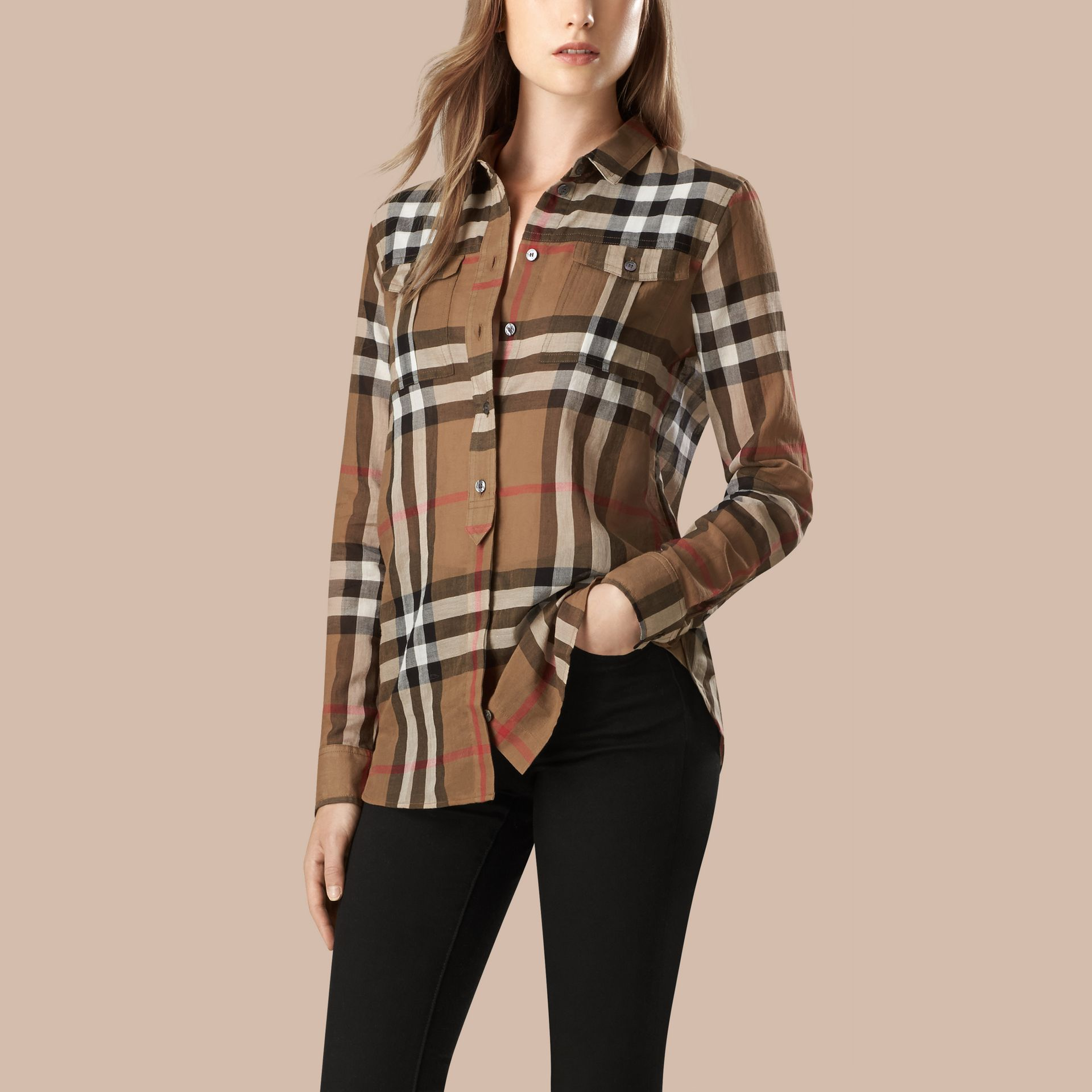 Taupe brown Check Cotton Shirt - gallery image 3