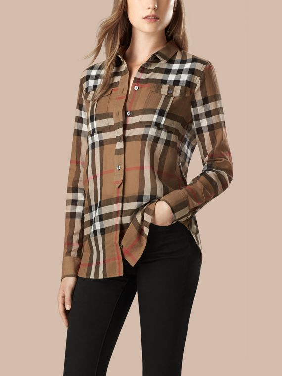 Taupe brown Check Cotton Shirt - cell image 2