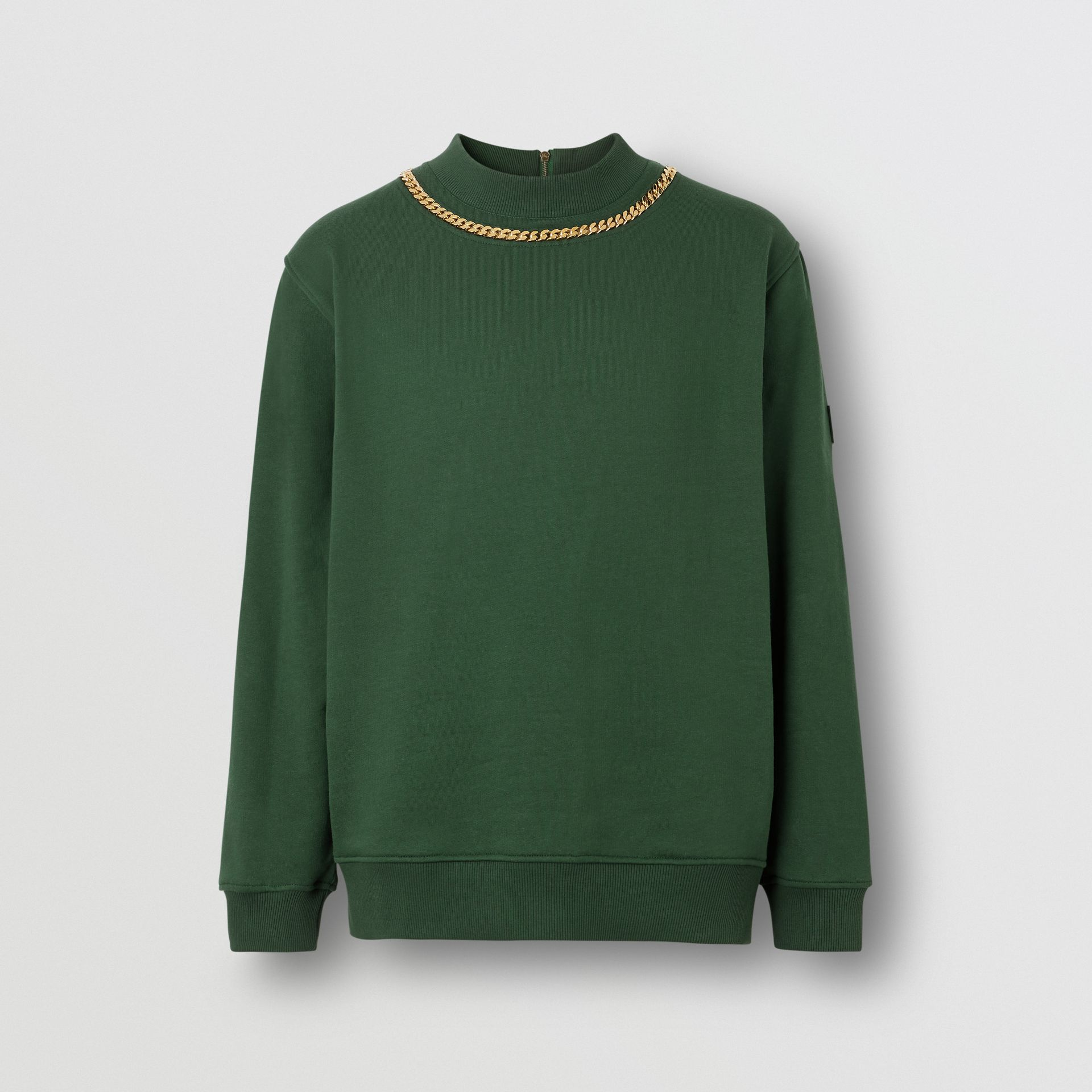 Chain Detail Cotton Sweatshirt in Dark Pine Green - Men | Burberry - gallery image 3
