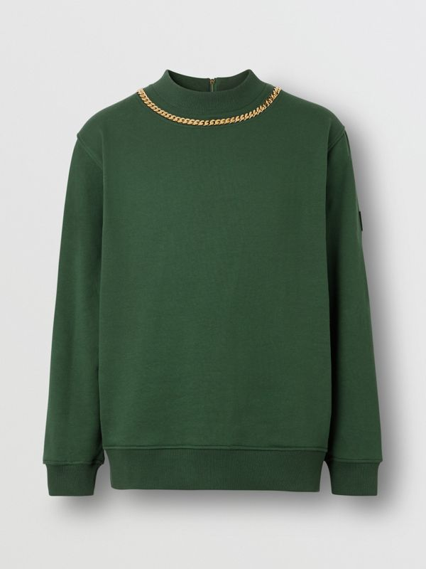 Chain Detail Cotton Sweatshirt in Dark Pine Green - Men | Burberry United Kingdom - cell image 3