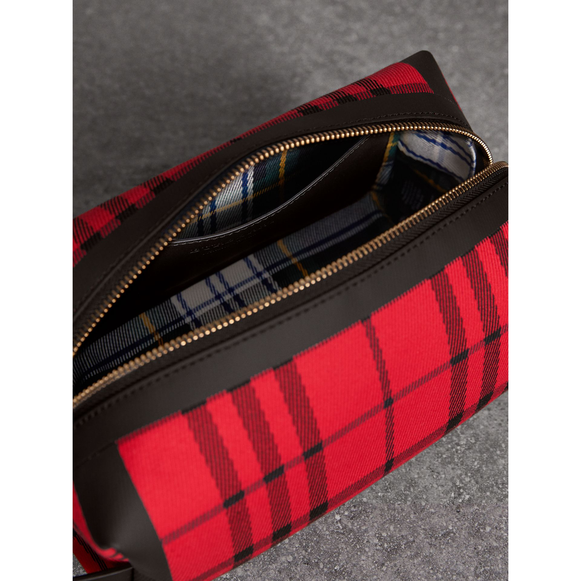 Tartan Cotton Pouch in Military Red | Burberry - gallery image 5