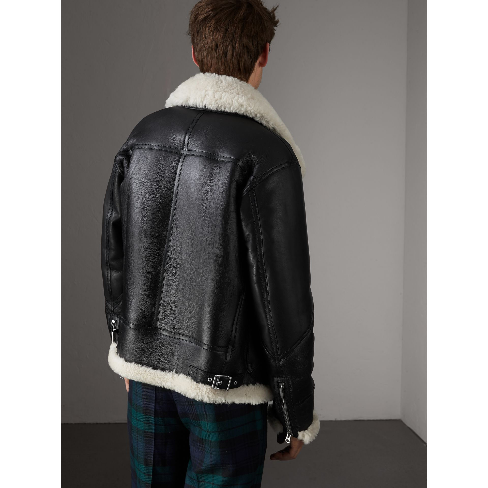 Shearling Aviator Jacket in Black - Men | Burberry - gallery image 3