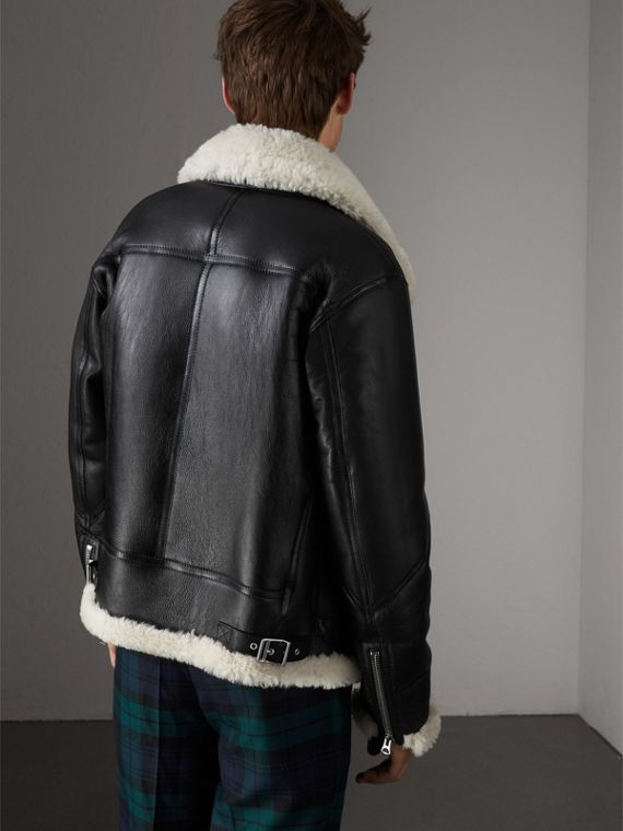 Shearling Aviator Jacket in Black - Men | Burberry United Kingdom - cell image 2
