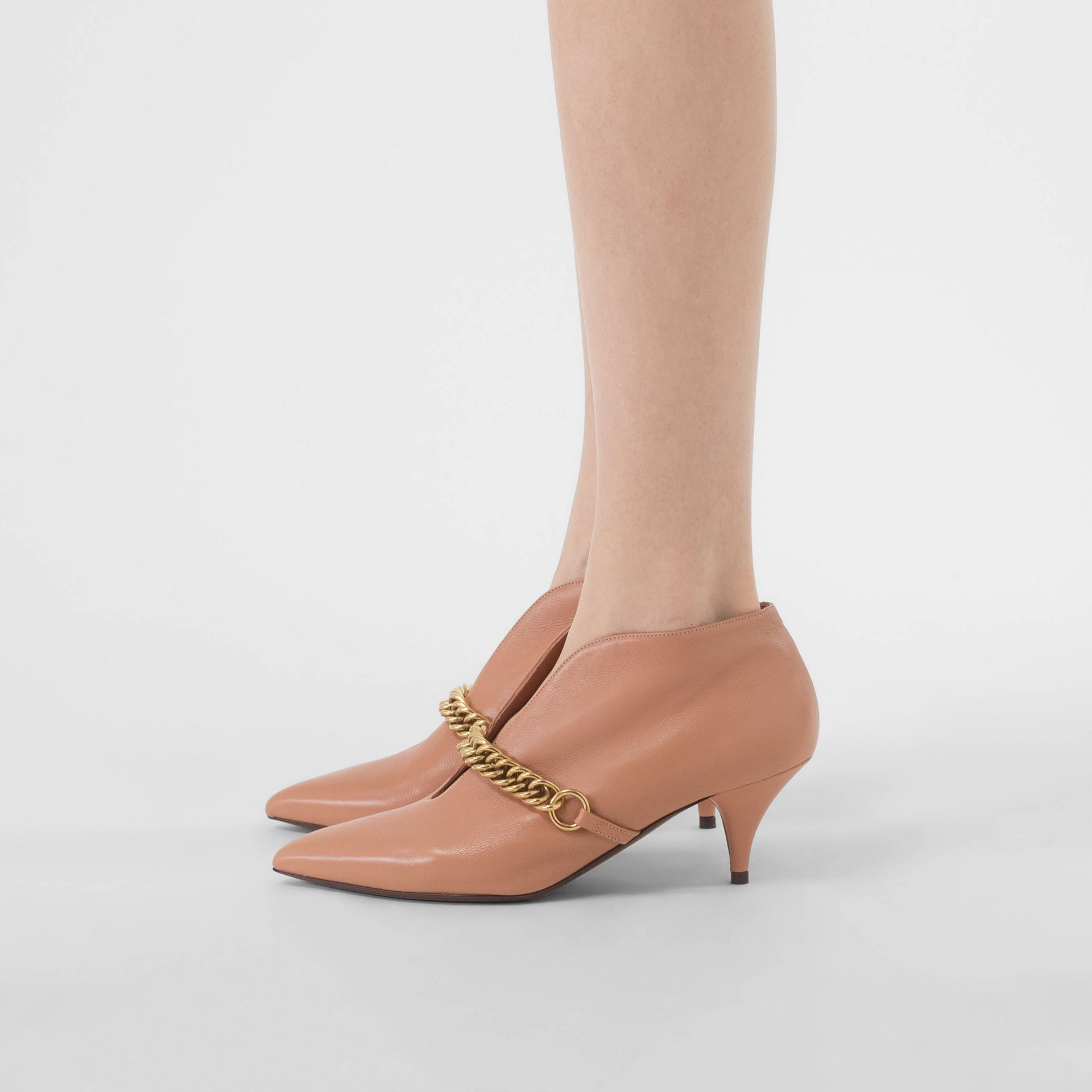 Link Detail Leather Ankle Boots in Russet Pink - Women | Burberry - gallery image 2