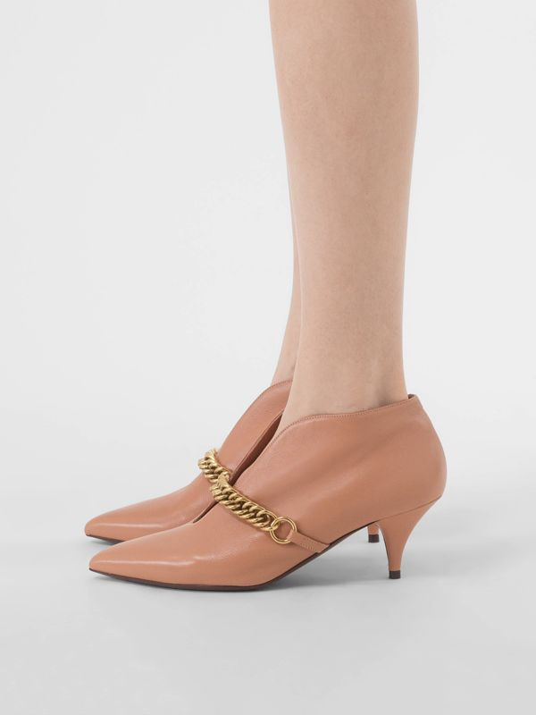 Link Detail Leather Ankle Boots in Russet Pink - Women | Burberry - cell image 2