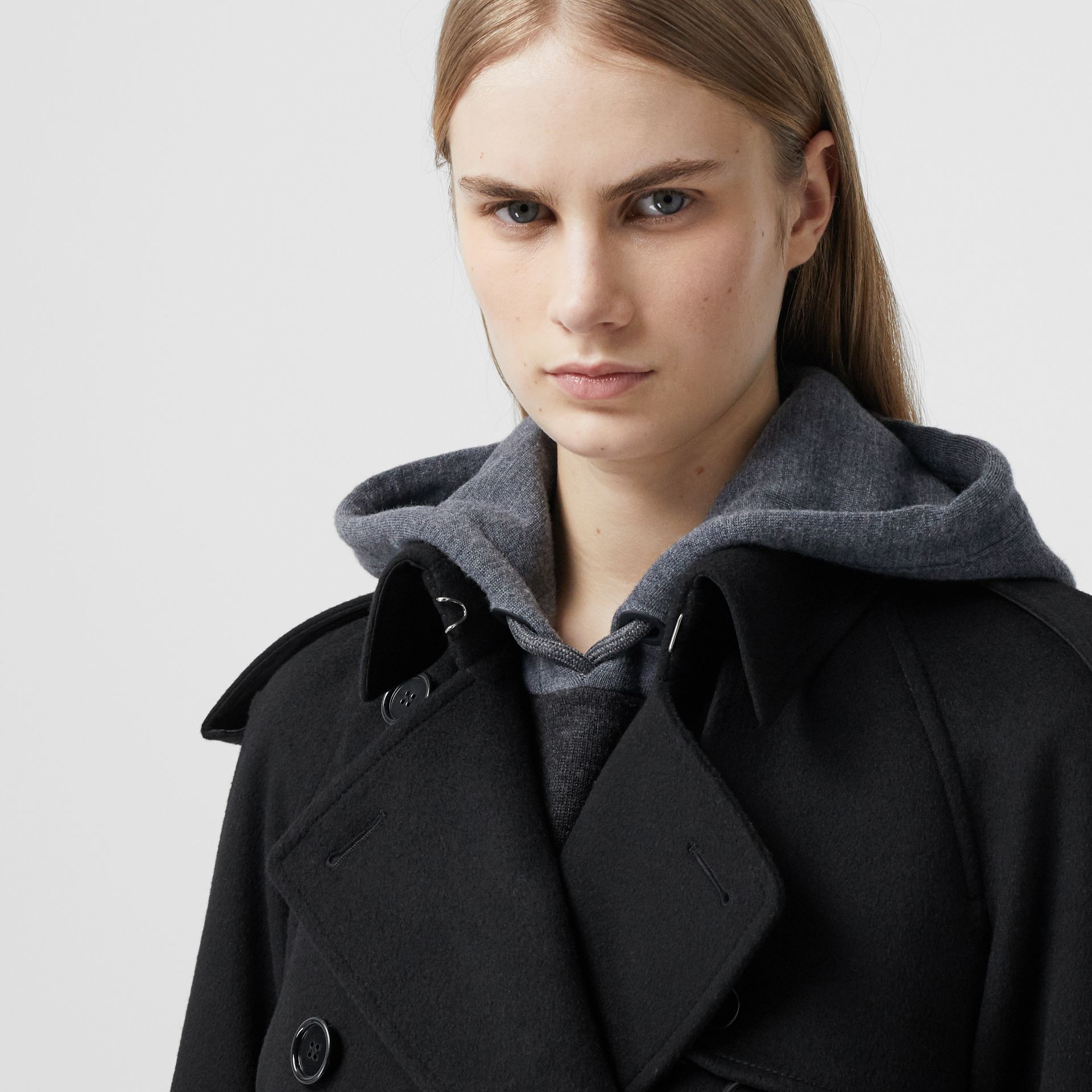Fringed Wool Cashmere Trench Coat in Black - Women | Burberry Australia - gallery image 4