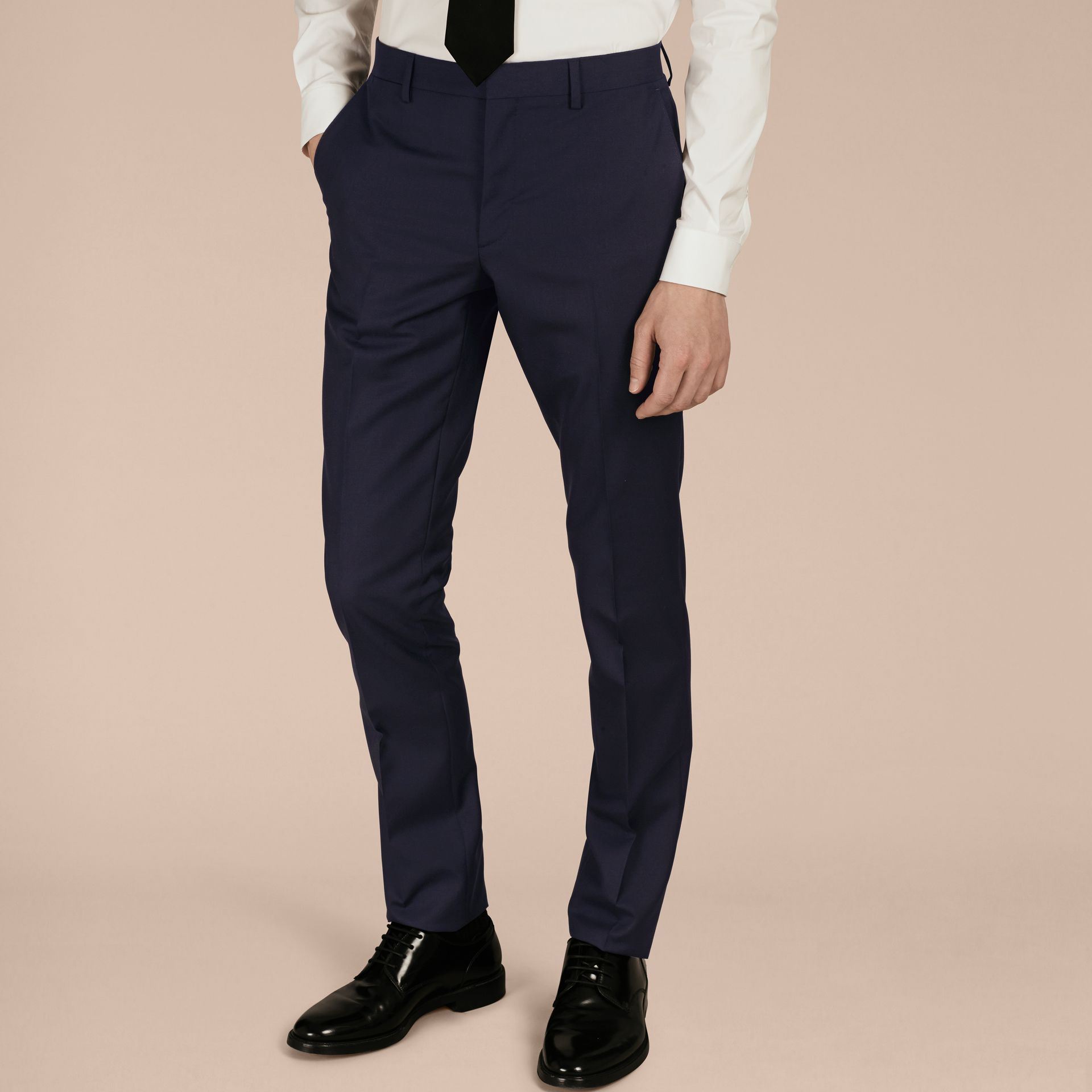 Slim Fit Wool Part-canvas Suit Navy - gallery image 9