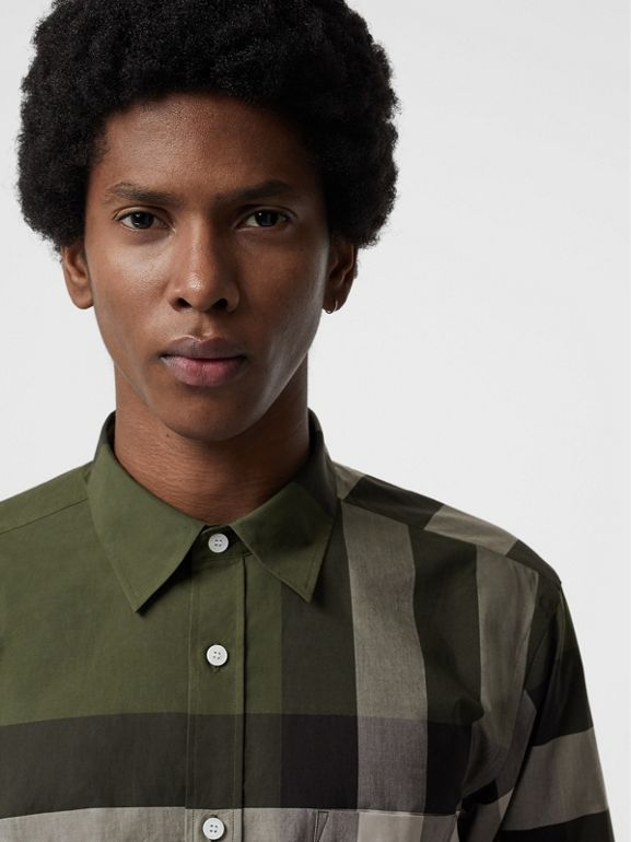 Check Stretch Cotton Shirt in Antique Green - Men | Burberry - cell image 1