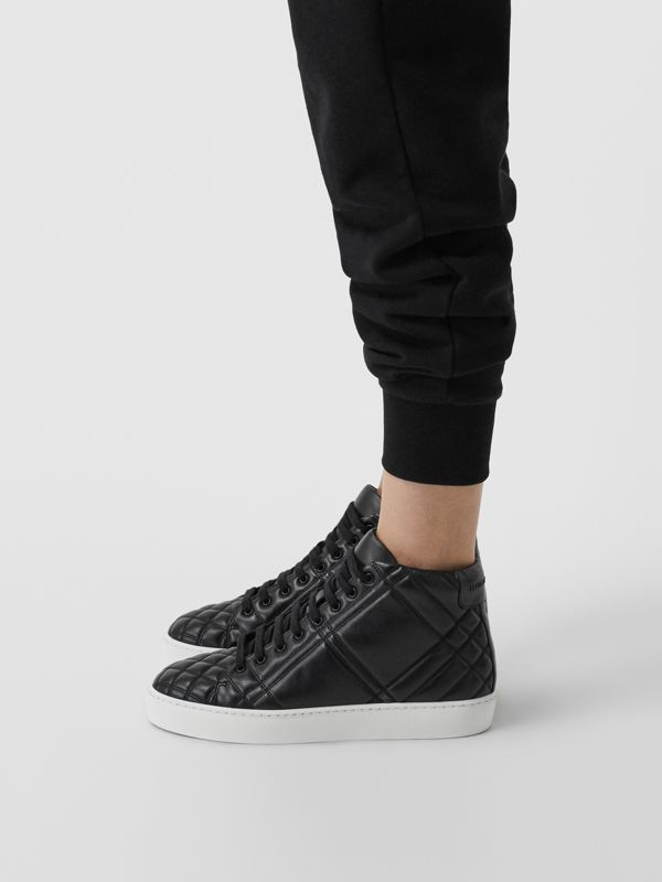 Check-quilted Leather High-top Sneakers in Black - Women | Burberry - cell image 2
