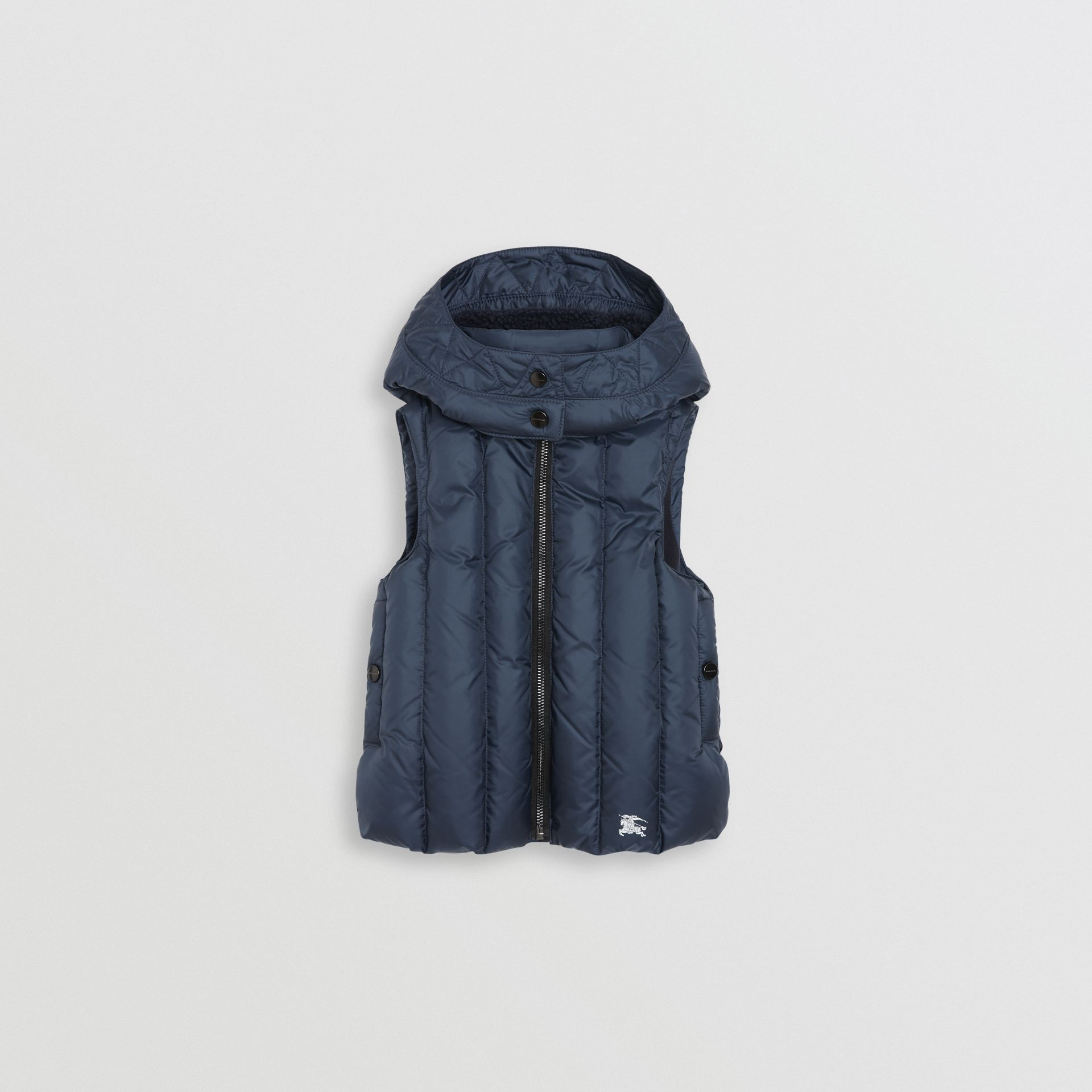 Detachable Hood Down-filled Gilet in Navy | Burberry - gallery image 0