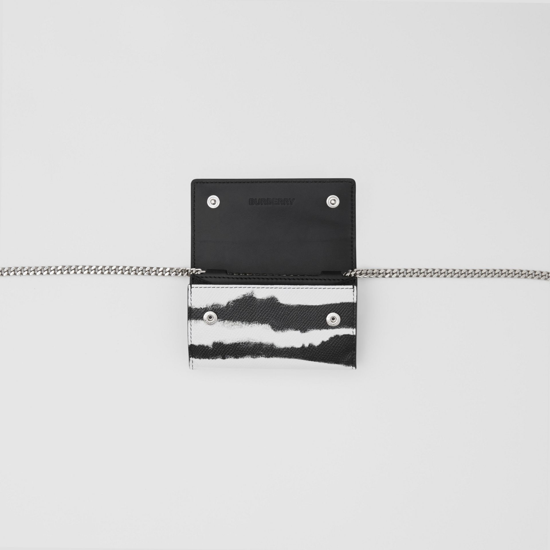 Small Watercolour Print Wallet with Detachable Strap in Black/white | Burberry - gallery image 10